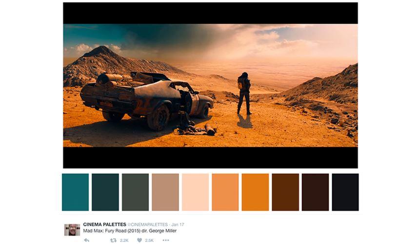 Creative Twitter account - cinema pallette Mad Max