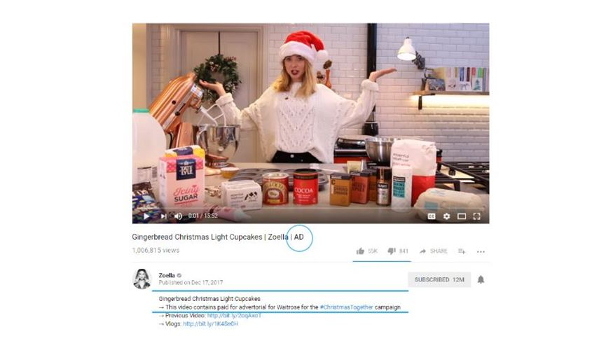 Youtube sponsored advert tagging