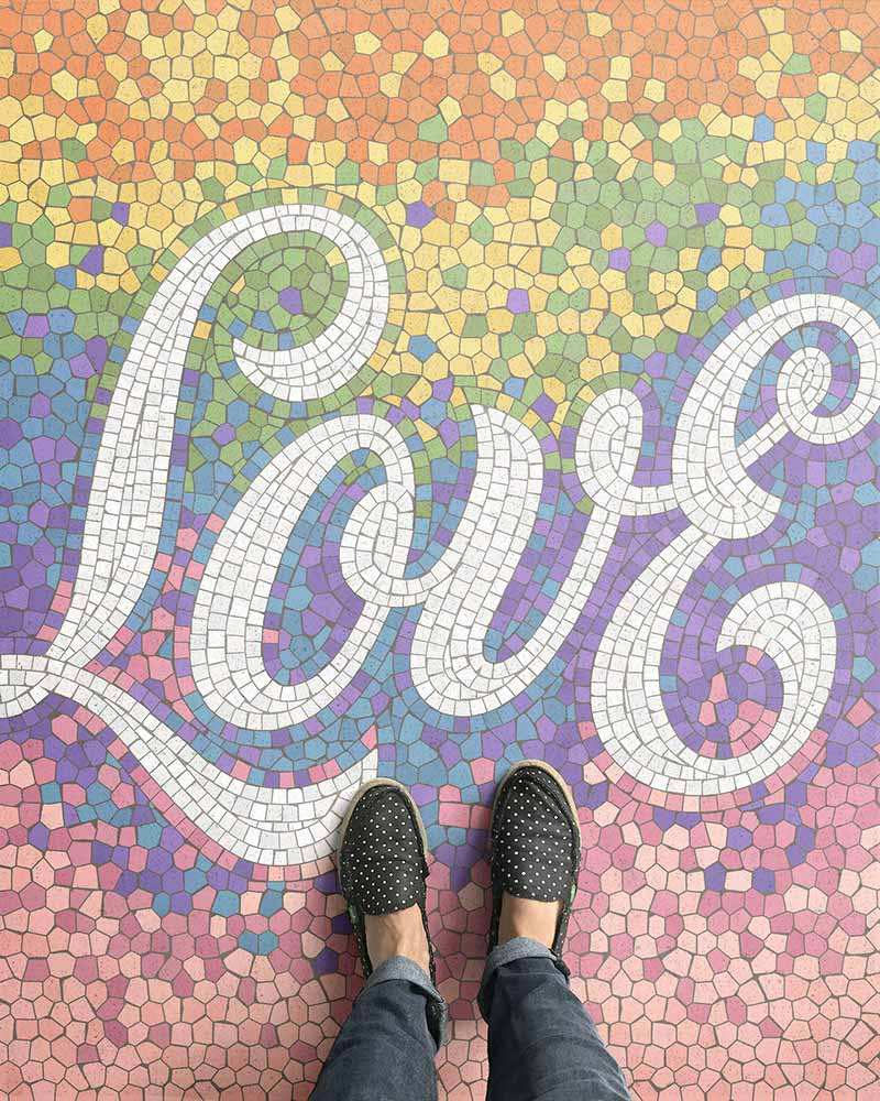 love written with mosaics on the floor
